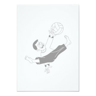 Volleyball boy gray 5x7 paper invitation card