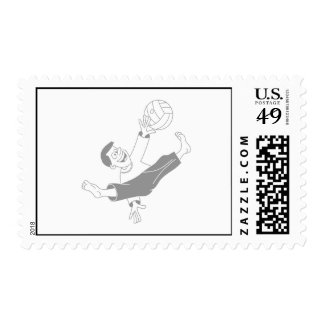 Volleyball boy gray postage stamps