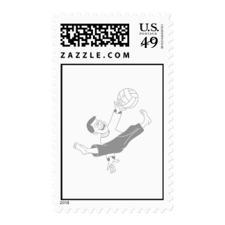 Volleyball boy gray postage stamp