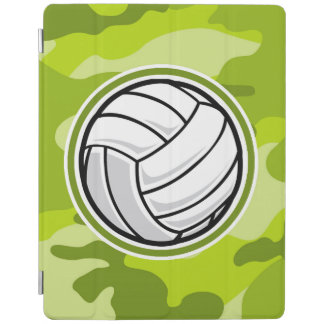 Volleyball; bright green camo, camouflage iPad cover
