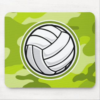 Volleyball; bright green camo, camouflage mouse pad