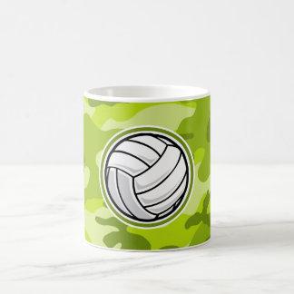 Volleyball; bright green camo, camouflage coffee mugs