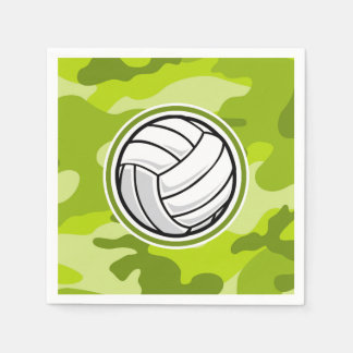 Volleyball; bright green camo, camouflage disposable napkin