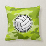 Volleyball; bright green camo, camouflage pillow