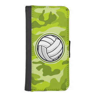 Volleyball; bright green camo, camouflage iPhone 5 wallet case