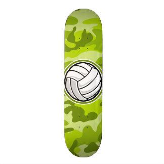 Volleyball; bright green camo, camouflage skate board