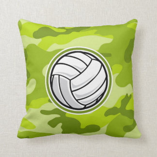 Volleyball; bright green camo, camouflage throw pillow