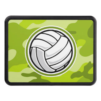 Volleyball; bright green camo, camouflage trailer hitch cover