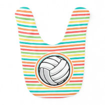 Volleyball; Bright Rainbow Stripes Bib