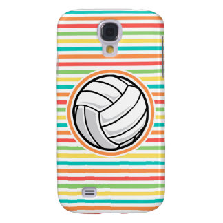 Volleyball; Bright Rainbow Stripes Galaxy S4 Cases