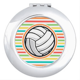 Volleyball; Bright Rainbow Stripes Makeup Mirror