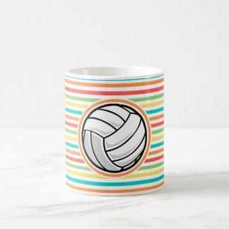 Volleyball; Bright Rainbow Stripes Coffee Mug