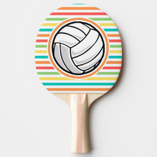 Volleyball; Bright Rainbow Stripes Ping-Pong Paddle