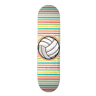 Volleyball; Bright Rainbow Stripes Skate Board Decks