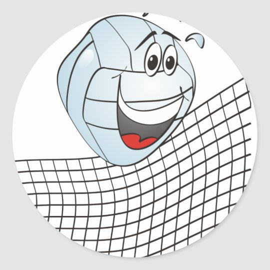 Volleyball Cartoon Classic Round Sticker