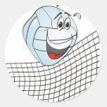 Volleyball Cartoon Round Sticker