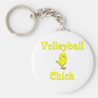 Volleyball  Chick Basic Round Button Keychain