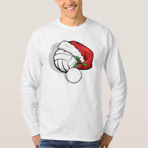 Volleyball Christmas Santa Cap T_Shirt