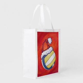 Volleyball Christmas Reusable Grocery Bag