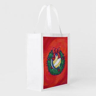 Volleyball Christmas Grocery Bag