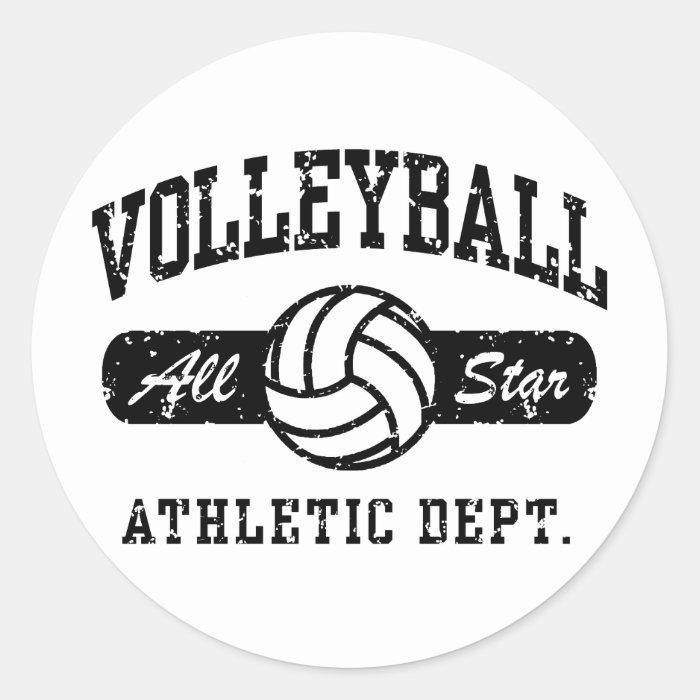 Volleyball Classic Round Sticker