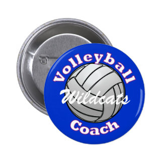 Volleyball Coach on Blue Pinback Button