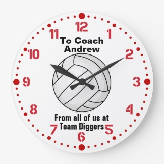 Volleyball Coach Retirement Gift Custom Name Clock