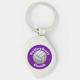 Volleyball Coach Silver-Colored Swirl Metal Keychain