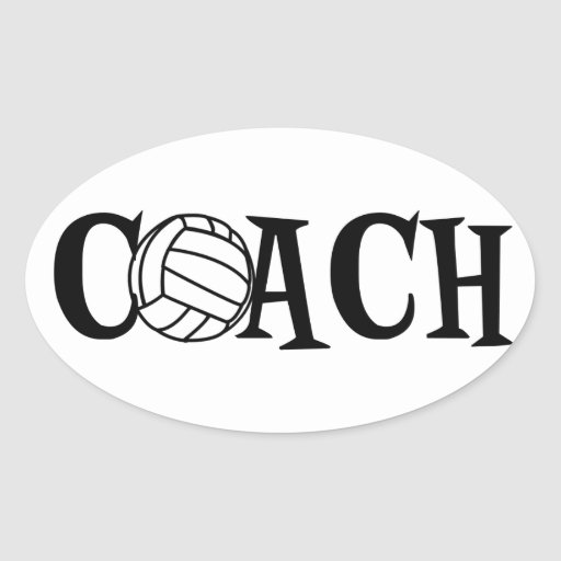 Volleyball Coach Oval Stickers