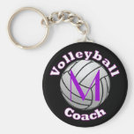 Volleyball Coach with Purple Initial Basic Round Button Keychain