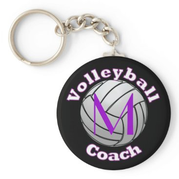 Beach Themed Volleyball Coach with Purple Initial Keychain