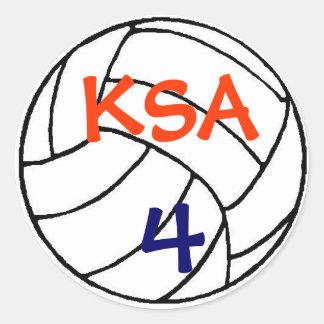 volleyball_color, KSA, 4 Classic Round Sticker