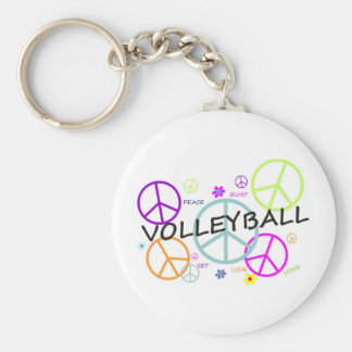 Volleyball Colored Peace Signs Basic Round Button Keychain