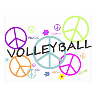 Volleyball Colored Peace Signs Postcard
