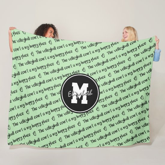volleyball court happy place mint black ANY color Fleece Blanket