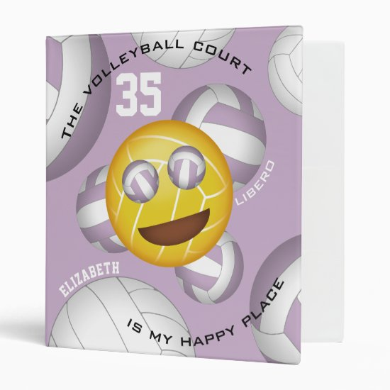 Volleyball court happy place smiley vball emoji binder