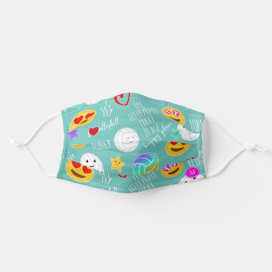 Volleyball court happy place typography kawaii cloth face mask