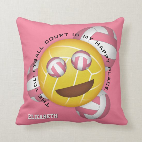 volleyball court is happy place smiling emoji throw pillow