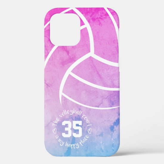 volleyball court my happy place girly pastels iPhone 12 pro case