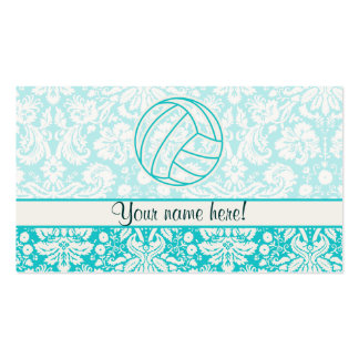 Volleyball; Cute Teal Double-Sided Standard Business Cards (Pack Of 100)