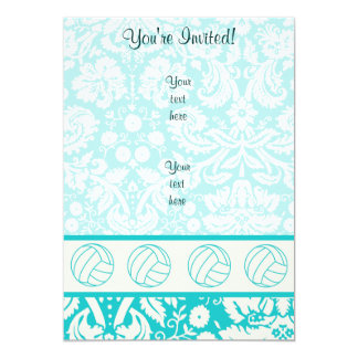 Volleyball; Cute Teal 5x7 Paper Invitation Card