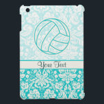 """Volleyball; Cute Teal iPad Mini Case<br><div class=""""desc"""">You will love this cute teal damask volleyball team sport ball girl sports design. Great for gifts! Available on tee shirts, smart phone cases, mousepads, keychains, posters, cards, electronic covers, computer laptop / notebook sleeves, caps, mugs, and more! Visit our site for a custom gift case for Samsung Galaxy S3,...</div>"""