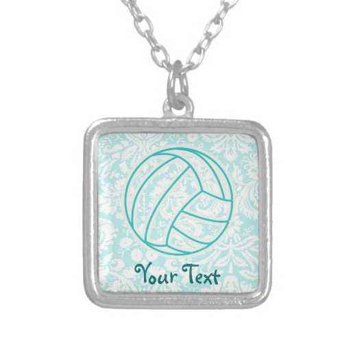 Volleyball; Cute Teal Personalized Necklace