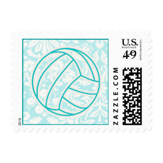 Volleyball; Cute Teal Stamp