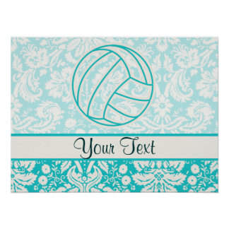 Volleyball; Cute Teal Posters