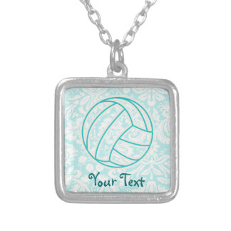 Volleyball; Cute Teal Square Pendant Necklace