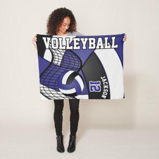 Volleyball Design - Blue, White, Black Fleece Blanket