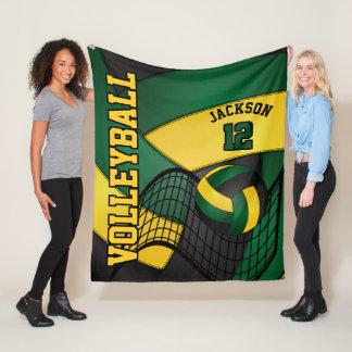 Volleyball Design - Green, Gold, Black Fleece Blanket