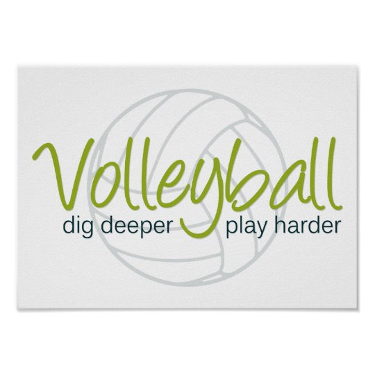 Volleyball Dig Deeper Play Harder Poster