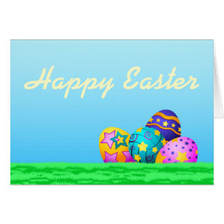 Volleyball Easter Eggs in Grass Card